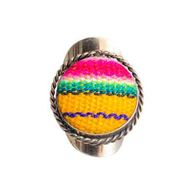 Inka-Products-Bague Ronde-Tissu Traditionnel Péruvien
