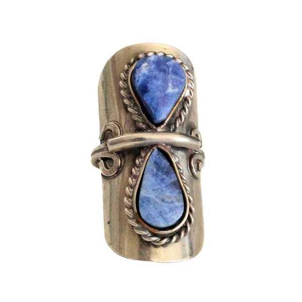 Bague Pierres Semi-précieuses Gouttes Bleues Lapis Lazuli - Inka Products