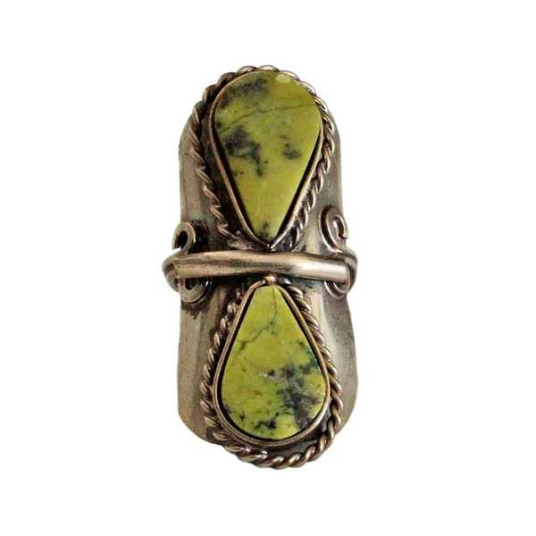 Bague Pierres Semi-précieuses Gouttes Serpentine Vert - Inka Products