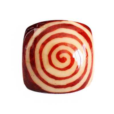 Inka-Products-Bague Tagua Batik-Spirale Carré Marron