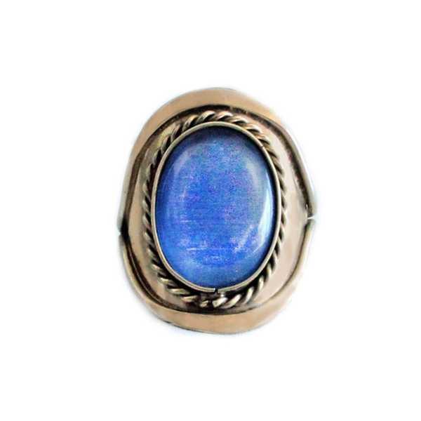 Bague Pierres Semi-précieuses Agate Bleue Ciel - Inka Products