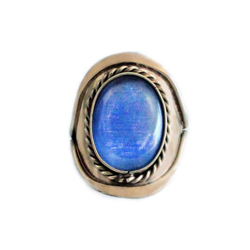 Inka-Products-Bague Pierres Semi-précieuses-Agate Bleue Ciel