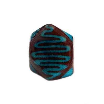 Bague Tagua Batik Serpent Bleu Ciel - Inka Products