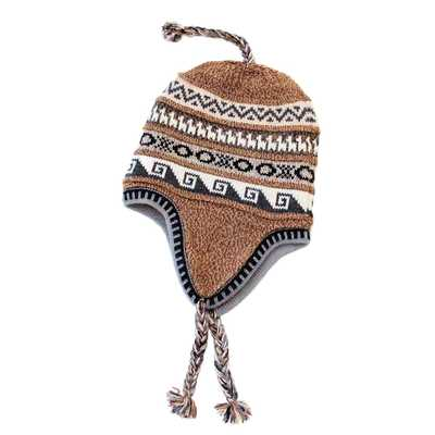 Inka-Products-Bonnet Péruvien Chullo-Alpaga Marron Ethnique