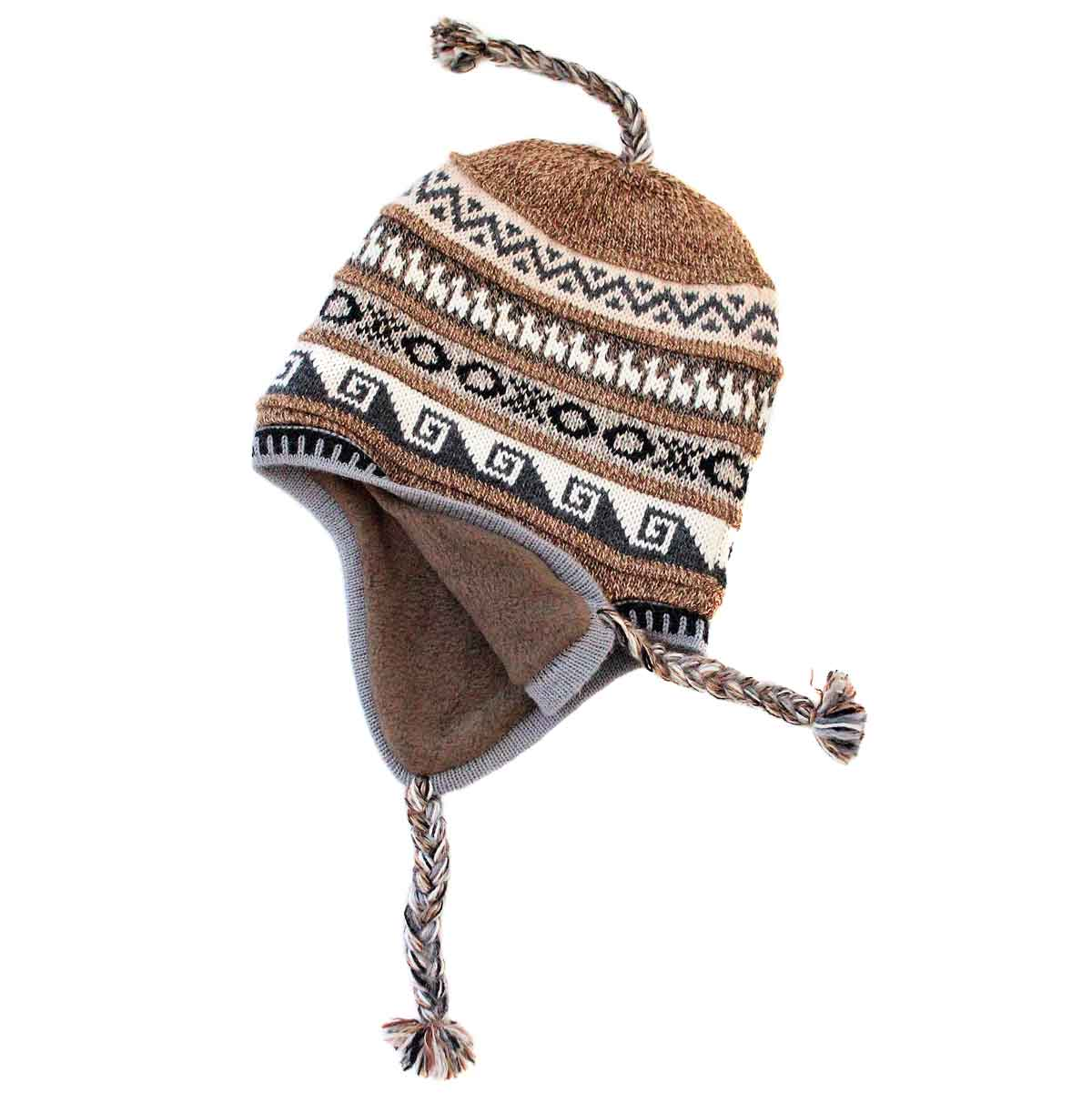 Inka-Products-Bonnet Péruvien Chullo-Alpaga Marron Ethnique-2