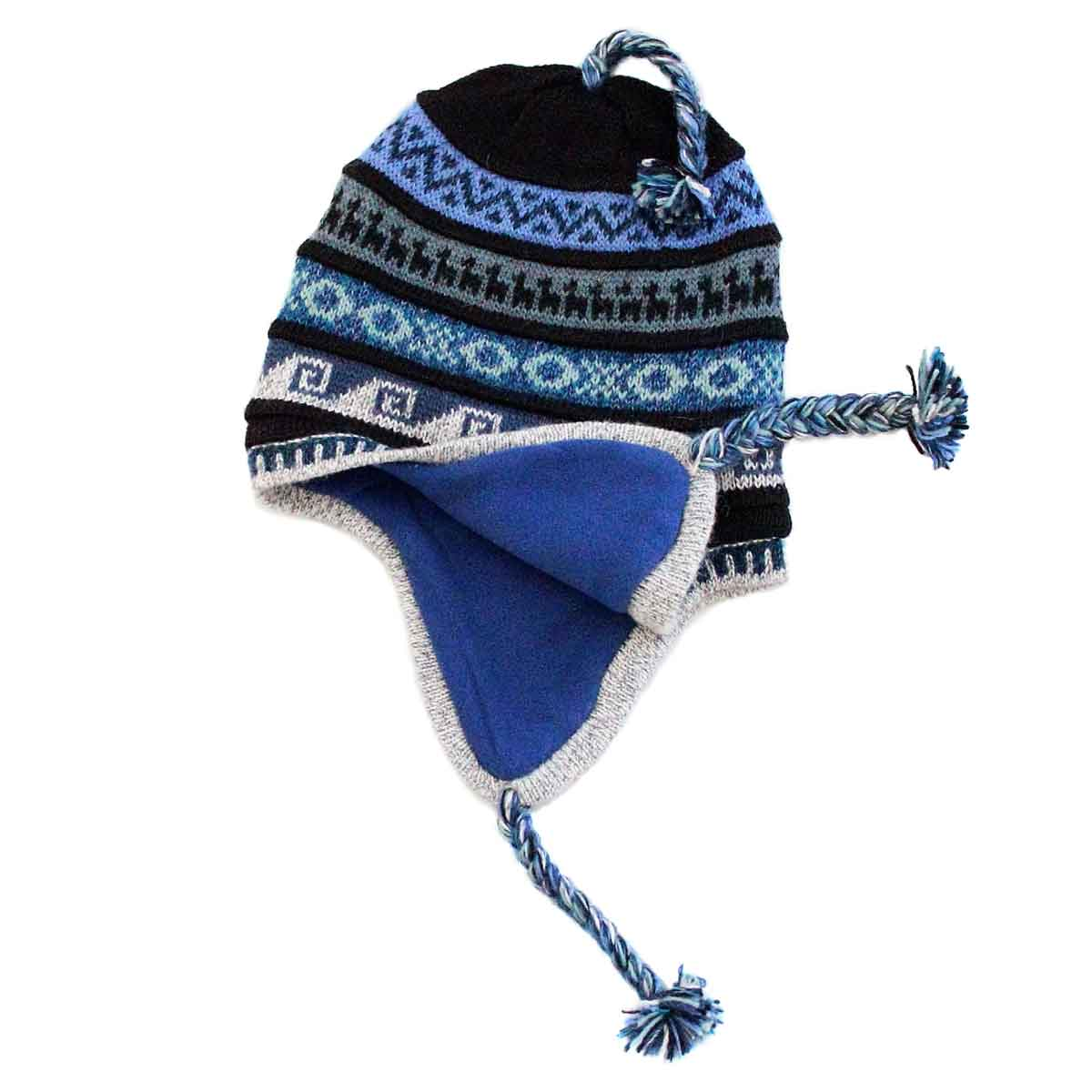 Inka-Products-Bonnet Péruvien Chullo-Alpaga Bleu Ethnique-2