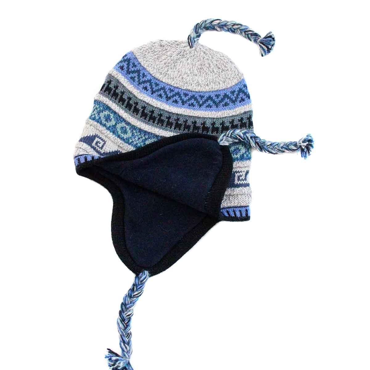 Inka-Products-Bonnet Péruvien Chullo-Alpaga Gris Clair Ethnique-2