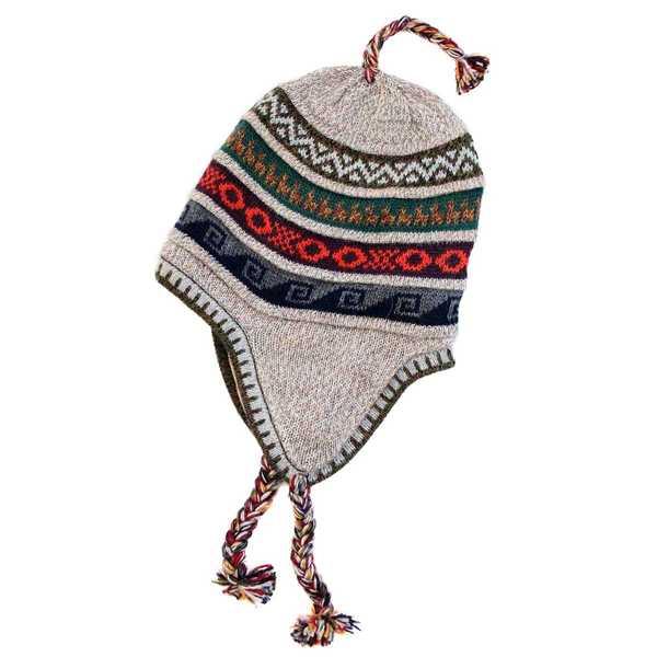 Bonnet Péruvien Chullo Alpaga Beige Clair Ethnique - Inka Products