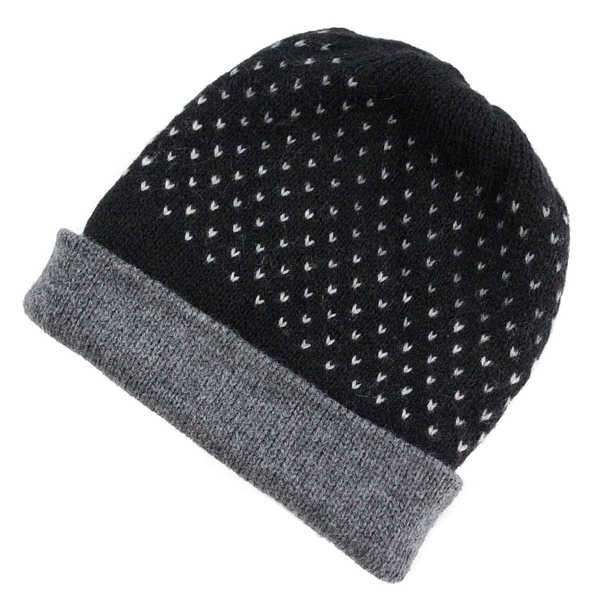 Bonnet Réversible Alpaga Noir Points Blancs - Inka Products