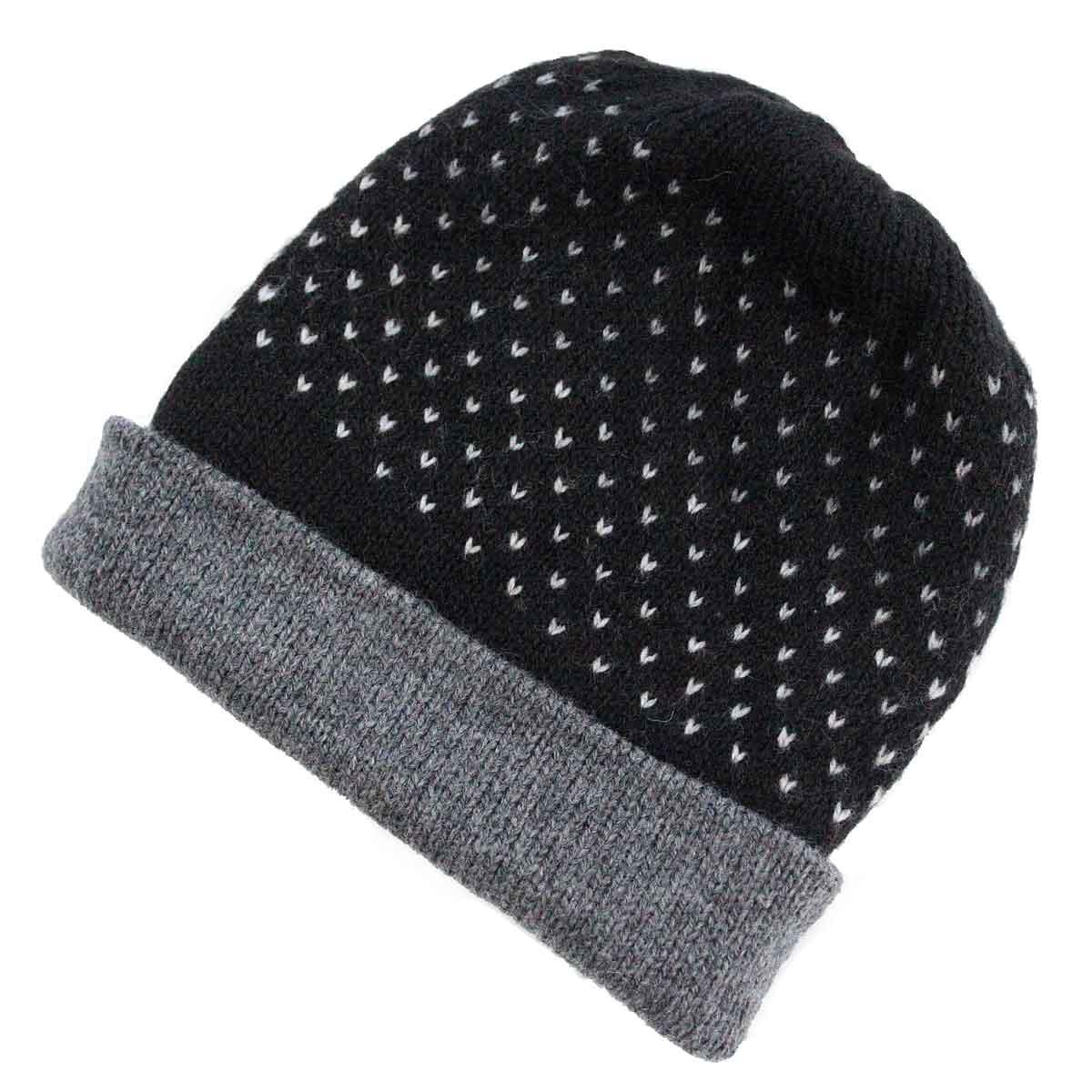 Inka-Products-Bonnet Réversible Alpaga-Noir Points Blancs