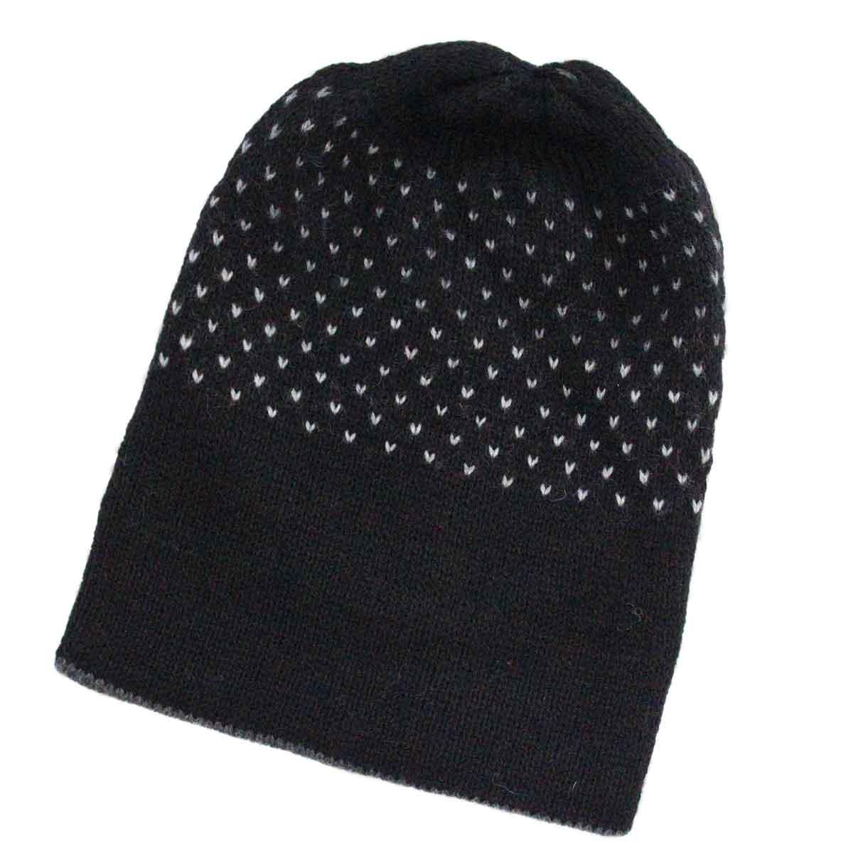 Inka-Products-Bonnet Réversible Alpaga-Noir Points Blancs-2