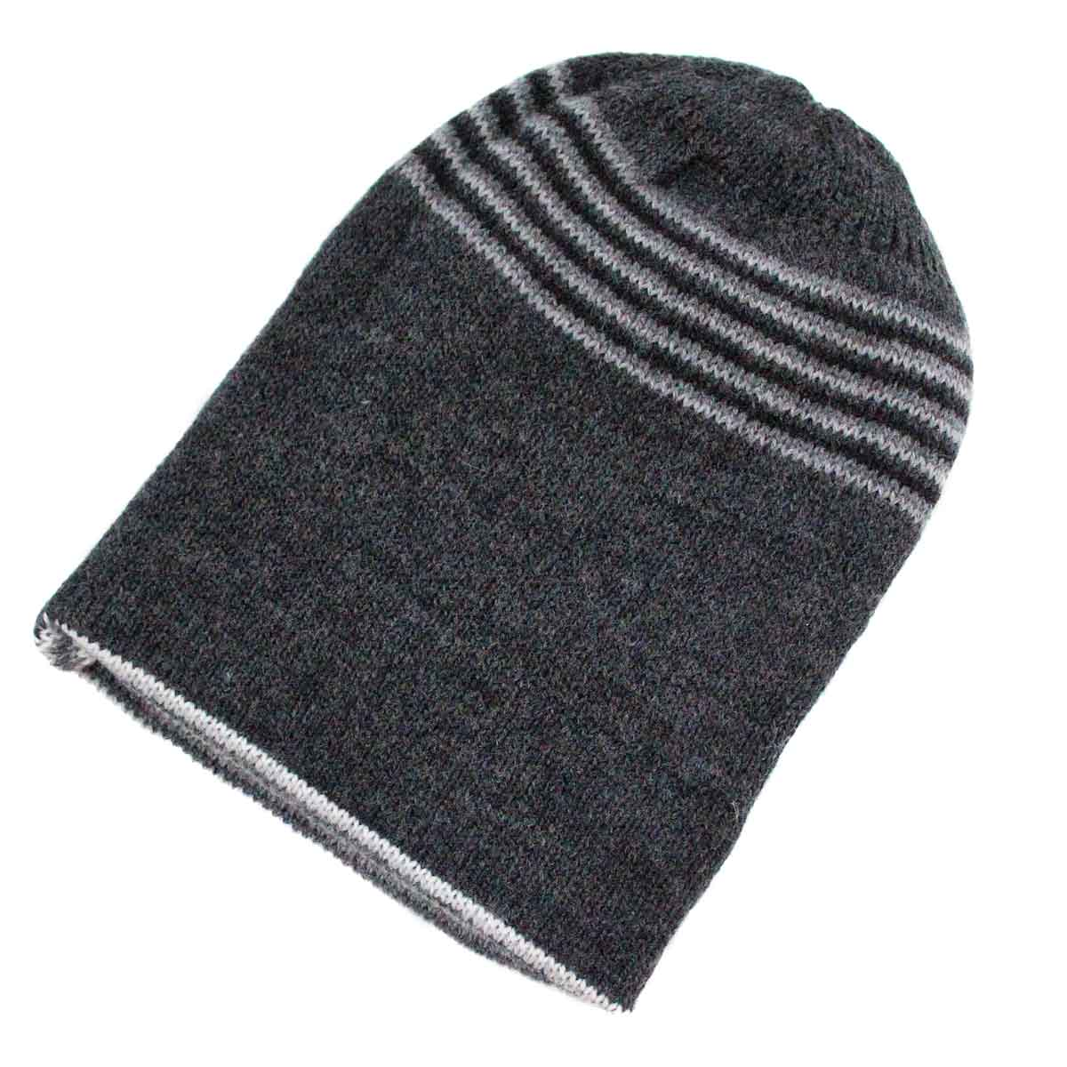 Inka-Products-Bonnet Réversible Alpaga-Gris Rayé-2