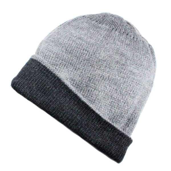 Bonnet Réversible Alpaga Gris et Gris Foncé - Inka Products