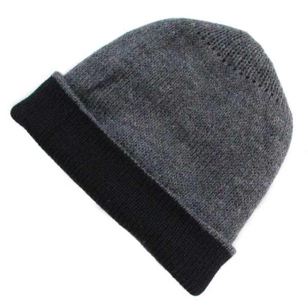 Bonnet Réversible Alpaga Gris et Noir - Inka Products