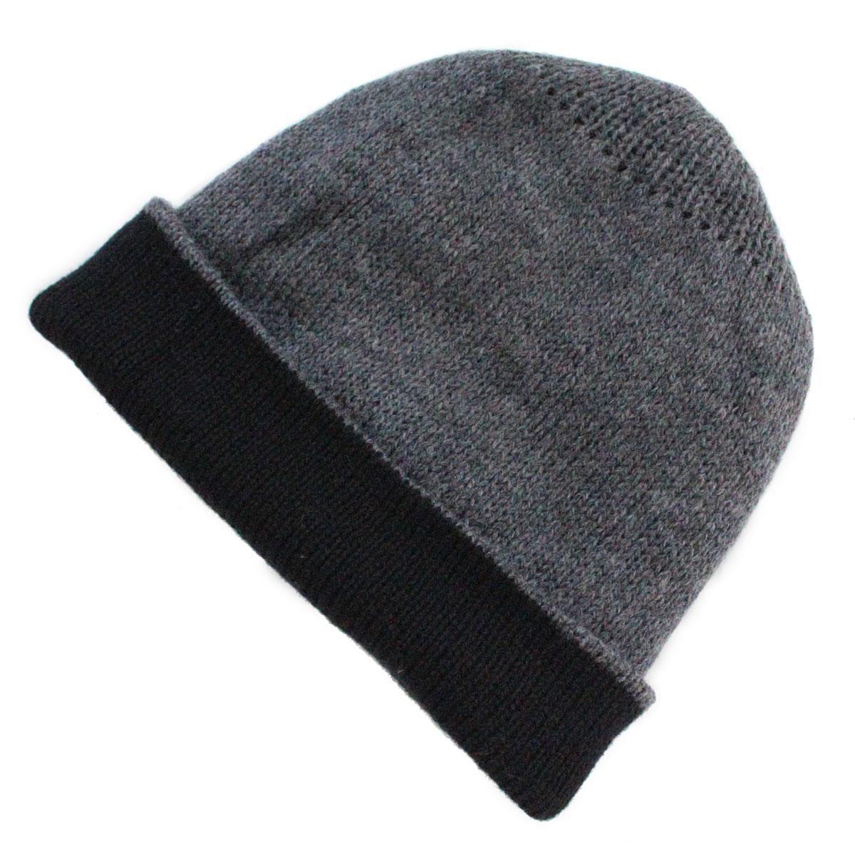 Inka-Products-Bonnet Réversible Alpaga-Gris et Noir