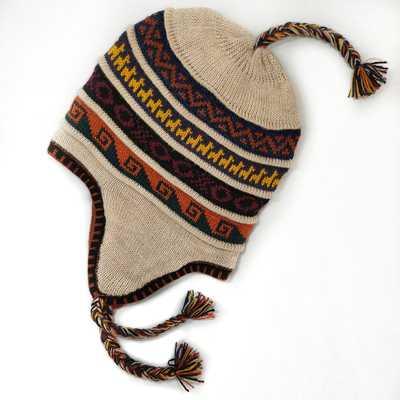 Inka-Products-Bonnet Chullo Péruvien Réversible-Tissé Main en Alpaga avec Motifs Ethniques