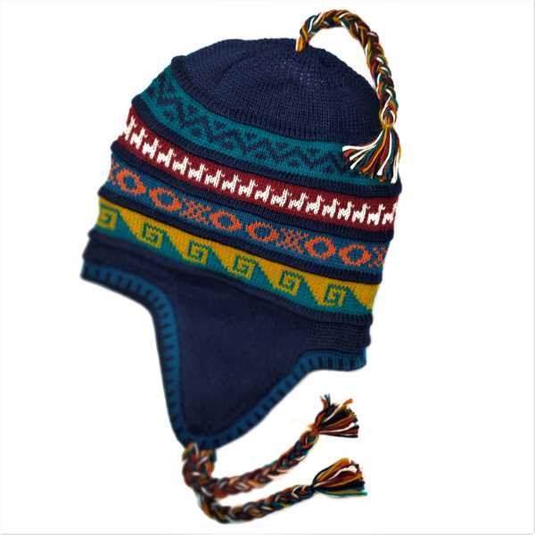 Bonnet Chullo Péruvien Réversible Tissé Main en Alpaga avec Motifs Ethniques - Inka Products