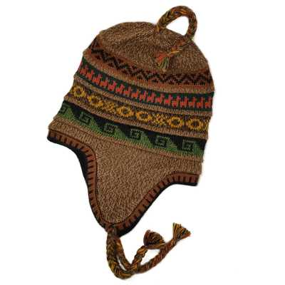 Inka-Products-Bonnet Chullo Péruvien Alpaga-Tissé Main en Alpaga avec Motifs Ethniques