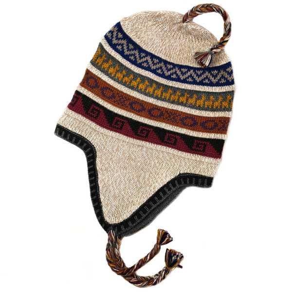 Bonnet Chullo Péruvien Alpaga Tissé Main en Alpaga avec Motifs Ethniques - Inka Products