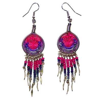 Inka-Products-Boucles d'Oreilles Attrape Rêves-Fils Rose et Violet avec Perles de Rocailles