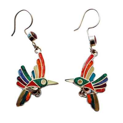 Inka-Products-Boucles d'Oreilles Argent - SIWAR-Argent 950ème incrusté de Pierres Semi-précieuses