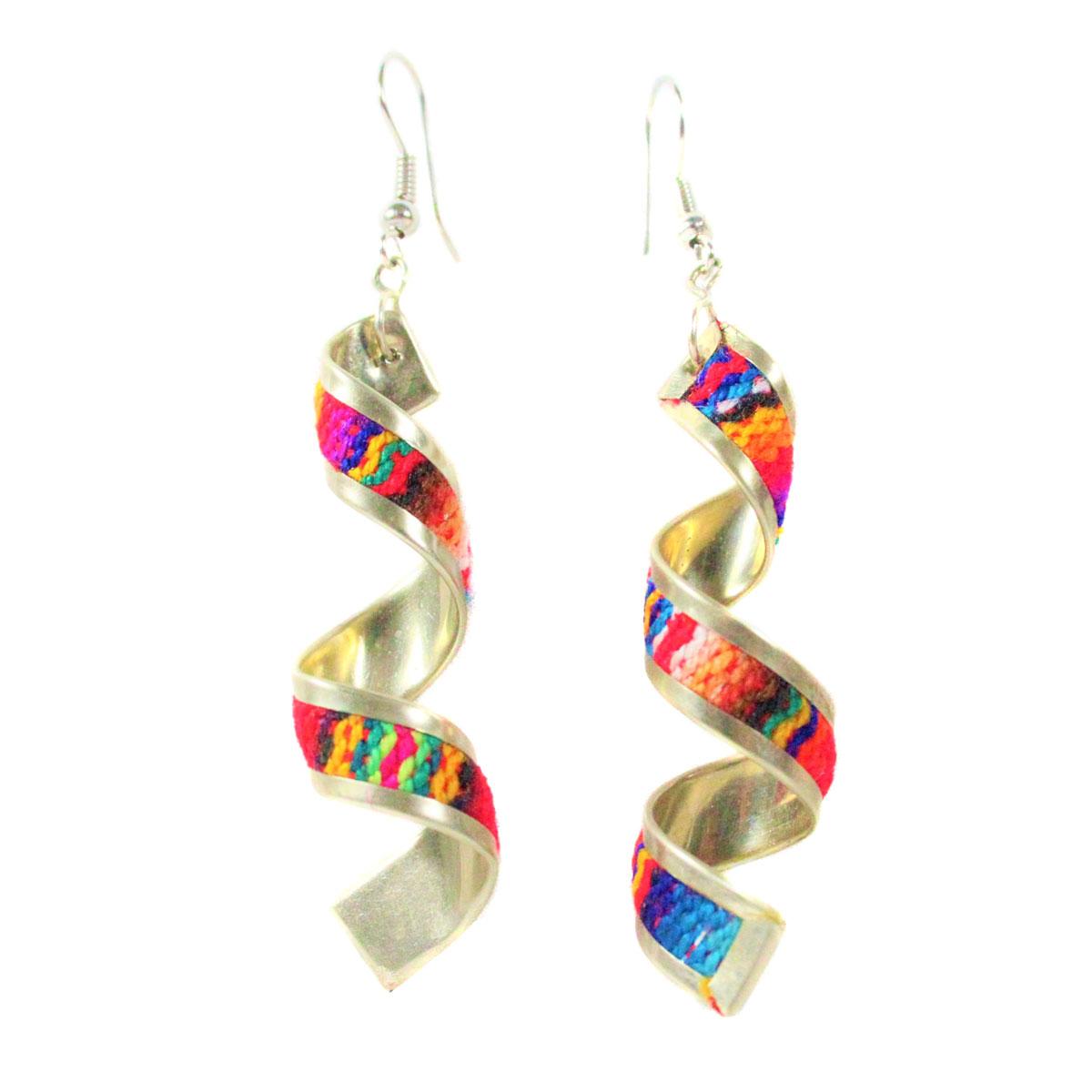 Inka-Products-Boucles d'Oreilles Tissu Traditionnel Péruvien-Spirale Longue Coloré