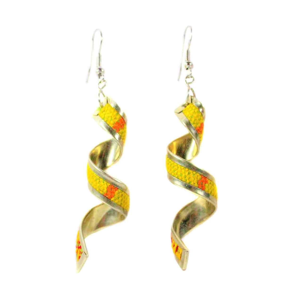 Inka-Products-Boucles d'Oreilles Tissu Traditionnel Péruvien-Spirale Longue Jaune