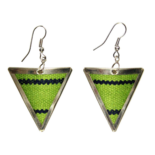 Inka-Products-Boucles d'Oreilles Tissu Traditionnel Péruvien-Triangle Vert Clair