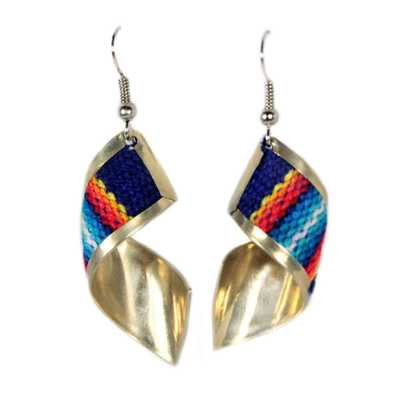 Inka-Products-Boucles d'Oreilles Tissu Traditionnel Péruvien-Rectangle Spirale Rouge Bleu