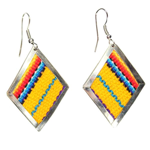 Inka-Products-Boucles d'Oreilles Tissu Traditionnel Péruvien-Losange Jaune