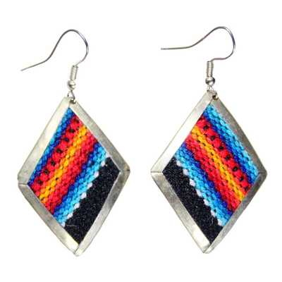 Inka-Products-Boucles d'Oreilles Tissu Traditionnel Péruvien-Losange Coloré Noir-Rouge