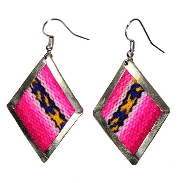Inka-Products-Boucles d'Oreilles Tissu Traditionnel Péruvien-Losange Rose-Violet