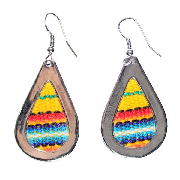 Inka-Products-Boucles d'Oreilles Tissu Traditionnel Péruvien-Goutte Jaune