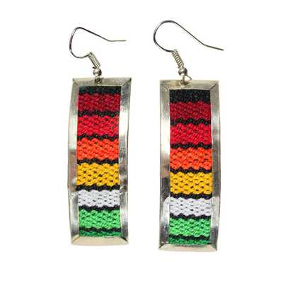 Inka-Products-Boucles d'Oreilles Tissu Traditionnel Péruvien-Rectangle Coloré Rouge