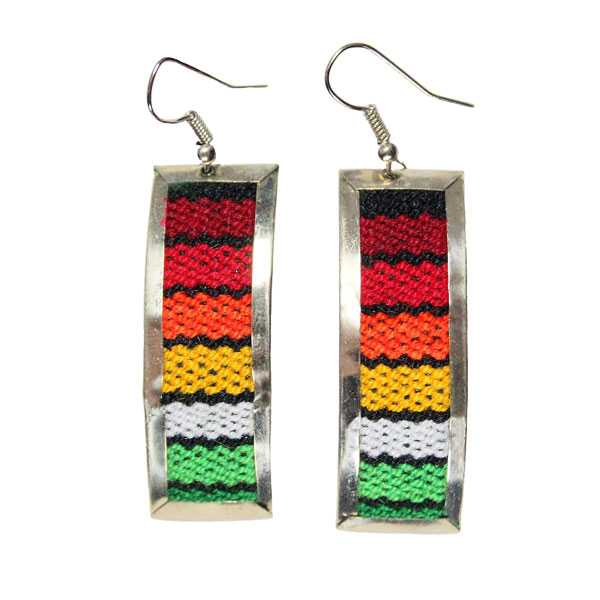 Boucles d'Oreilles Rectangle Tissu Traditionnel Péruvien - Inka Products
