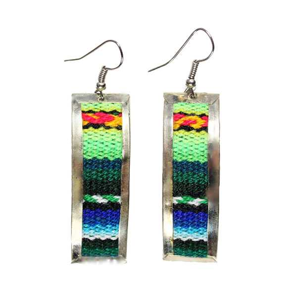 Boucles d'Oreilles Tissu Traditionnel Péruvien Rectangle Coloré Vert - Inka Products
