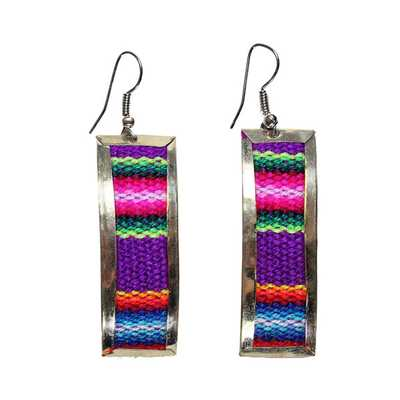 Inka-Products-Boucles d'Oreilles Rectangle-Tissu Traditionnel Péruvien