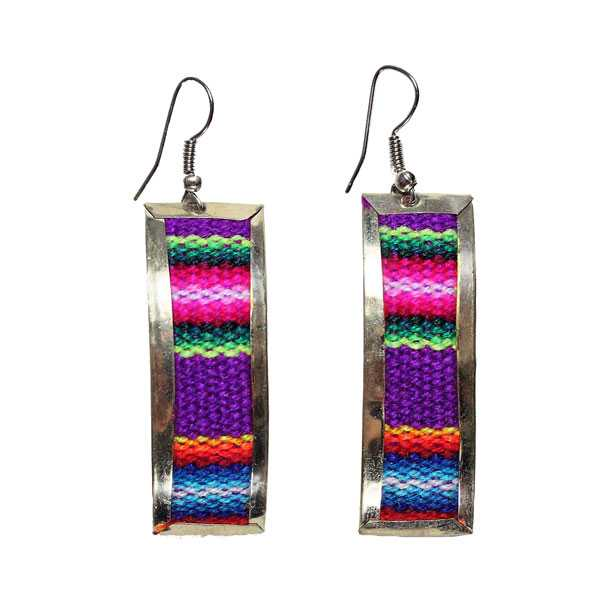 Boucles d'Oreilles Tissu Traditionnel Péruvien Rectangle Coloré Violet - Inka Products