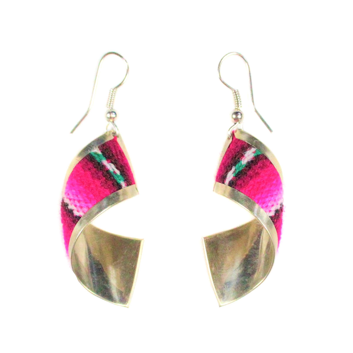 Inka-Products-Boucles d'Oreilles Tissu Traditionnel Péruvien-Rectangle Spiral Nuances de Fuchsia