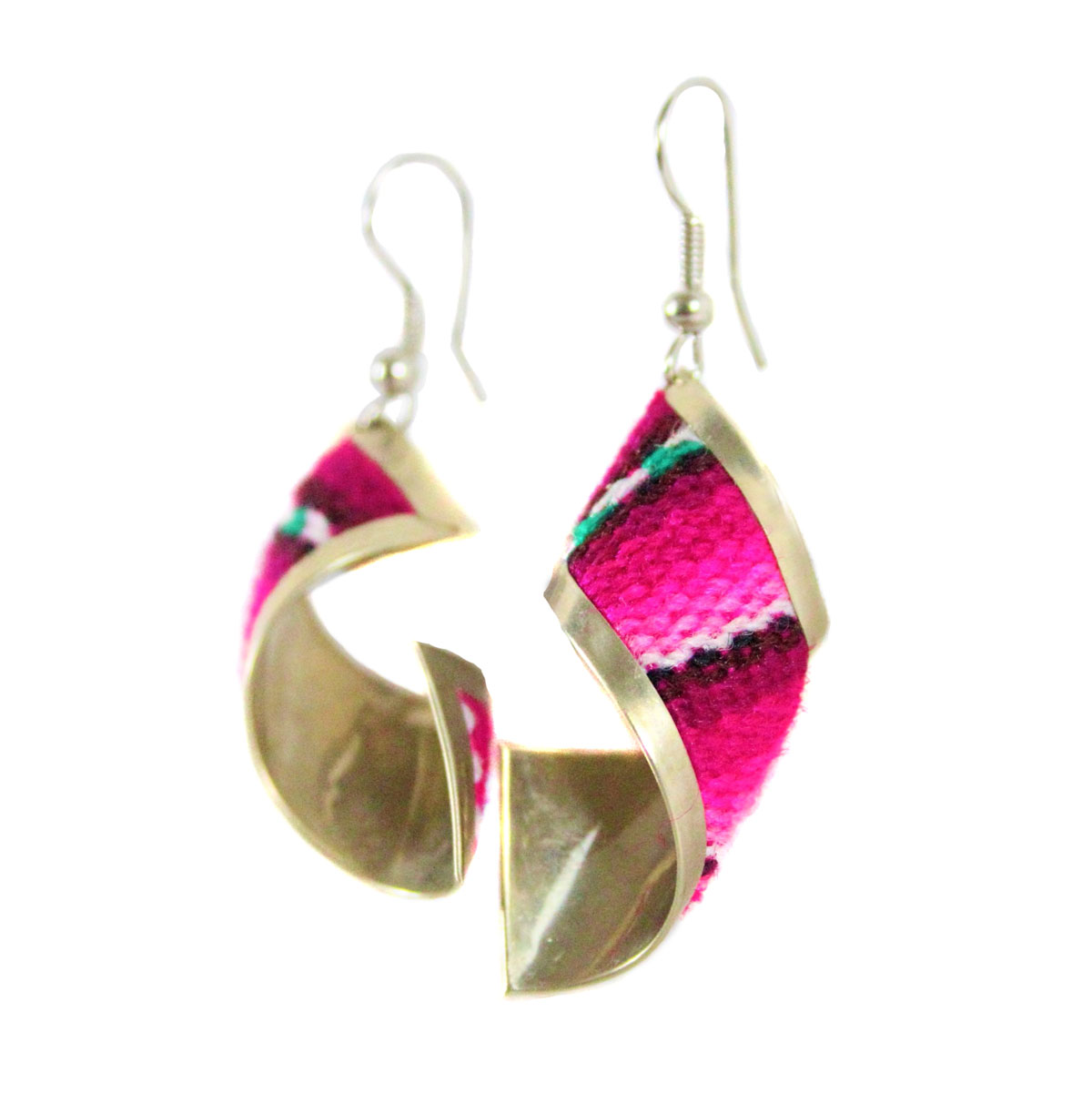Inka-Products-Boucles d'Oreilles Tissu Traditionnel Péruvien-Rectangle Spiral Nuances de Fuchsia-2