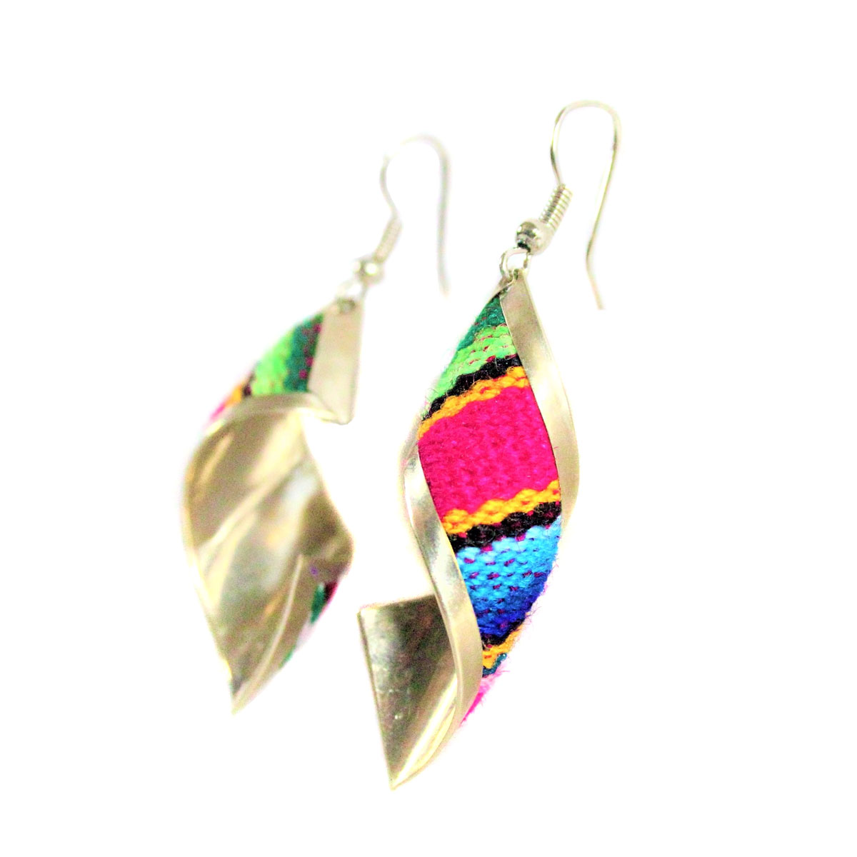 Inka-Products-Boucles d'Oreilles Tissu Traditionnel Péruvien-Rectangle Spiral Fuchsia-2