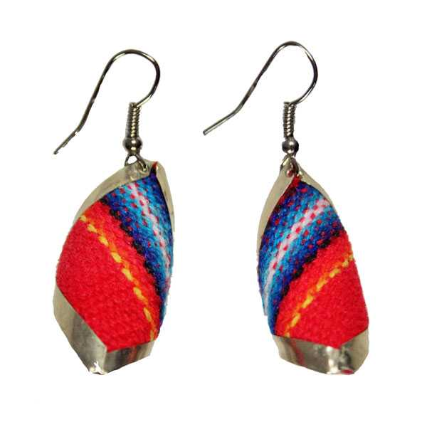 Boucles d'Oreilles Tissu Traditionnel Péruvien Carré Spiral Rouge - Inka Products