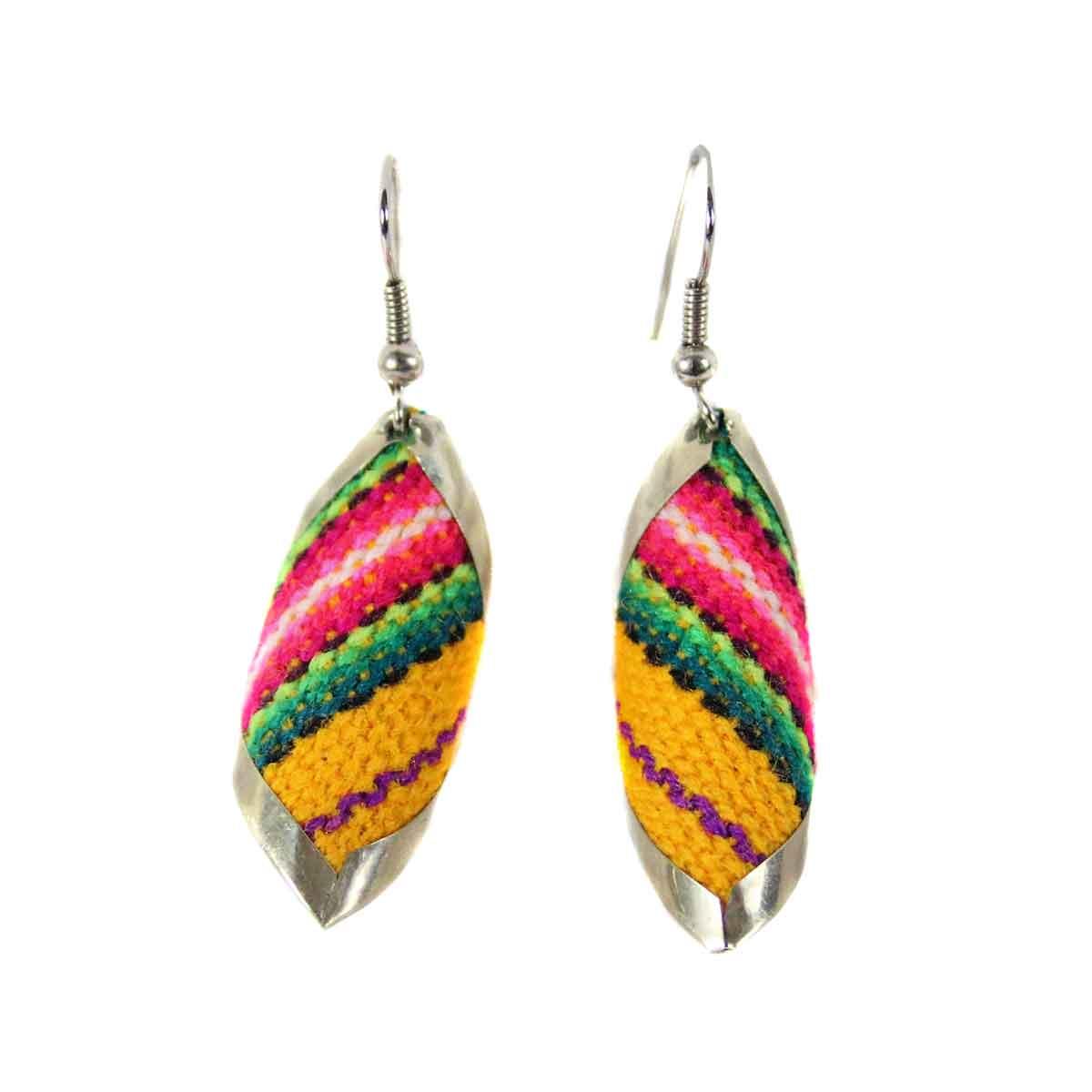 Inka-Products-Boucles d'Oreilles Tissu Traditionnel Péruvien-Carré Spiral Jaune