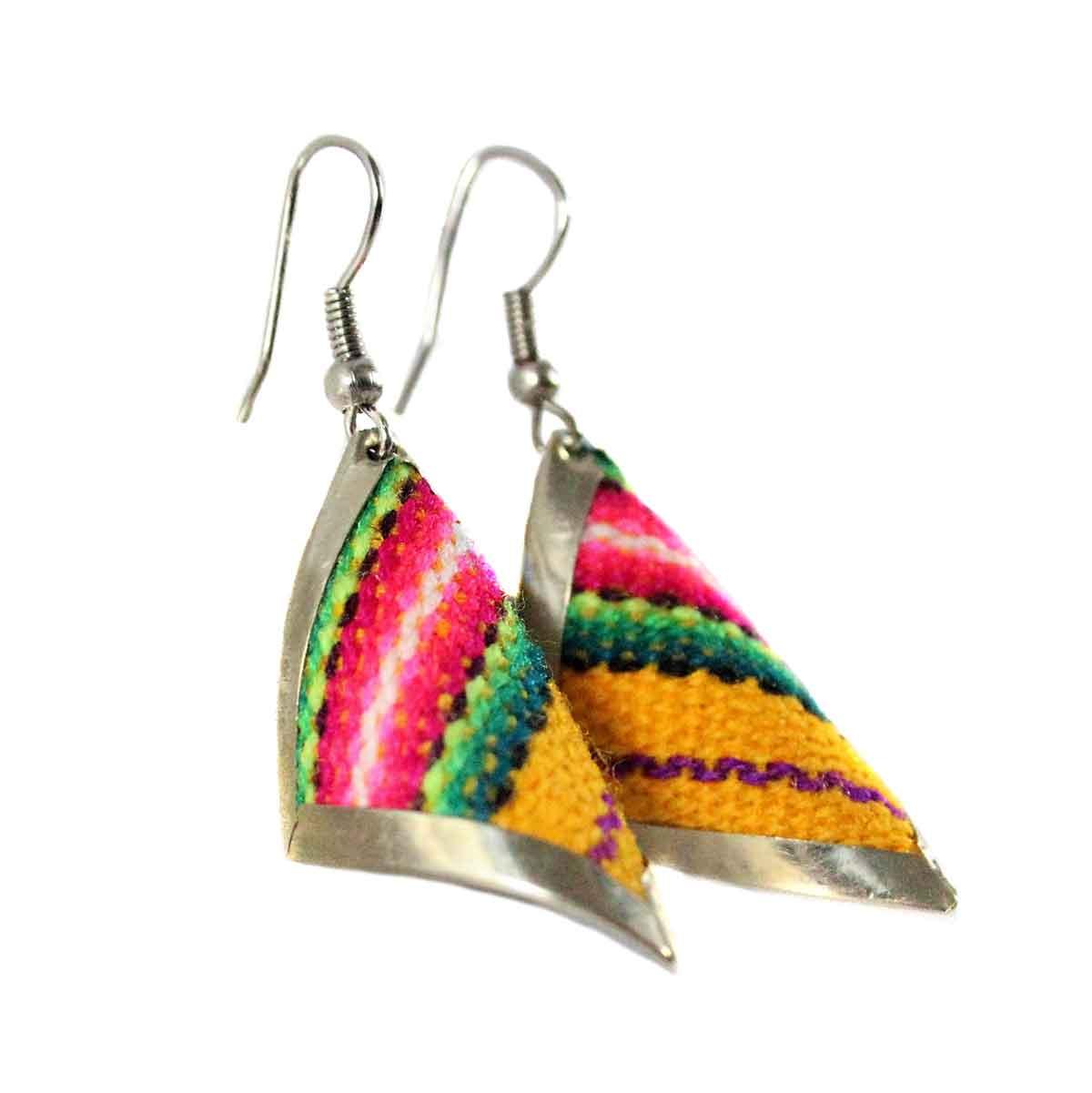 Inka-Products-Boucles d'Oreilles Tissu Traditionnel Péruvien-Carré Spiral Jaune-2