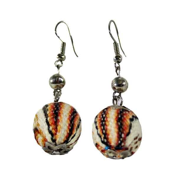 Inka-Products-Boucles d'Oreilles Tissu Traditionnel Péruvien-Pendantes Boules Marron
