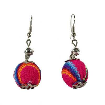 Boucles d'Oreilles Pendantes Boules Tissu Traditionnel Péruvien - Inka Products