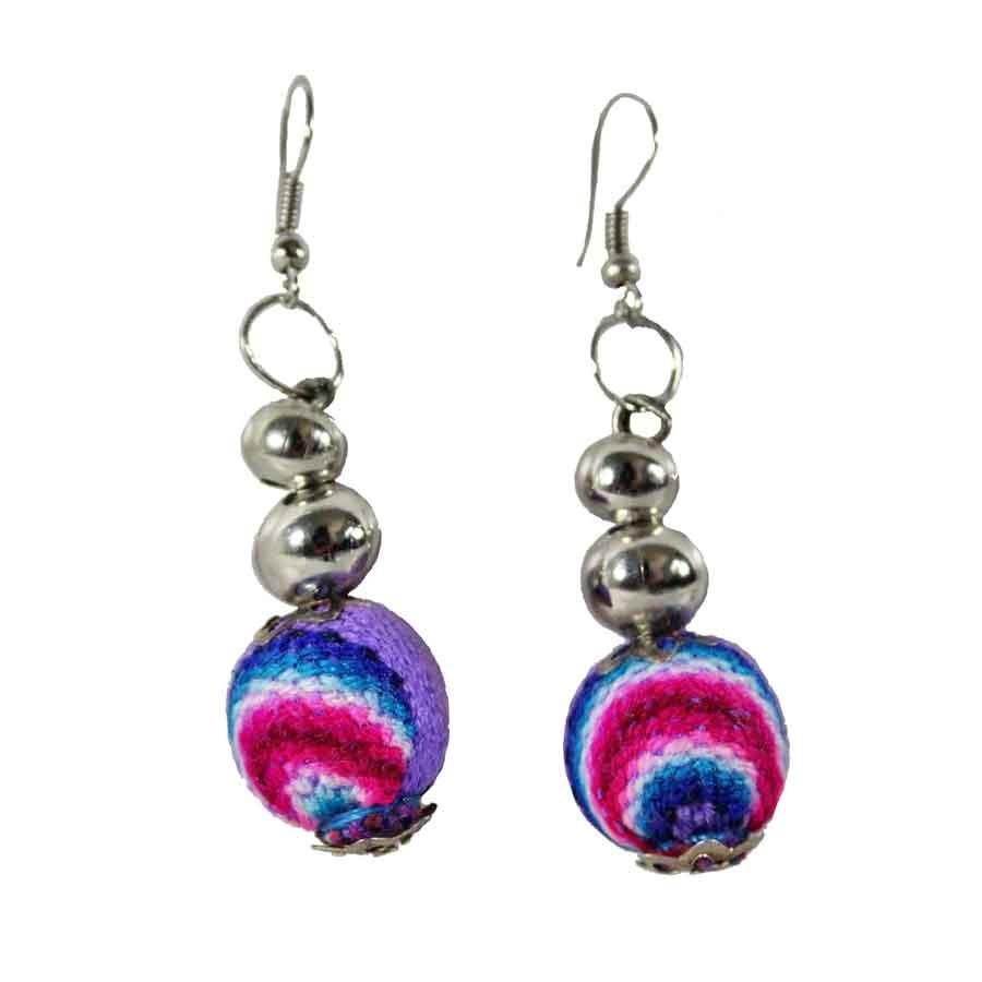 Inka-Products-Boucles d'Oreilles Tissu Traditionnel Péruvien-Pendantes Boules Violet Clair