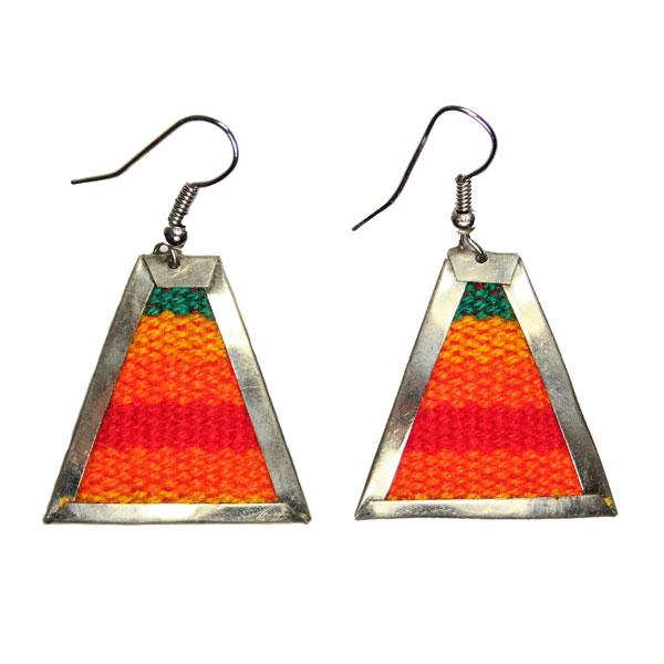 Inka-Products-Boucles d'Oreilles Tissu Traditionnel Péruvien-Trapèze Nuances d'Orange