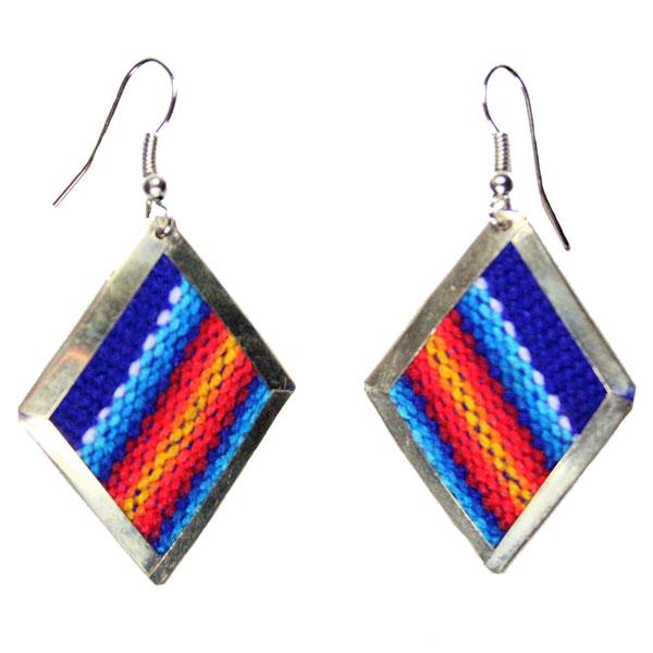 Inka-Products-Boucles d'Oreilles Tissu Traditionnel Péruvien-Losange Bleu