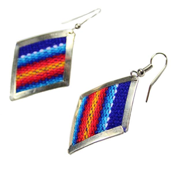 Inka-Products-Boucles d'Oreilles Tissu Traditionnel Péruvien-Losange Bleu-2